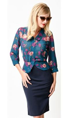 Hell Bunny Vintage Teal Woodland Floral Sleeved Chiffon Top