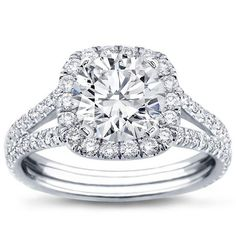 The Dreeeaaam Ring. If you're going to propose to me don't do it without this in your pocket Split Shank Halo Setting For Cushion Cut Diamond in 18K White Gold - R2988