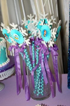 Frozen Birthday Party wands! See more party planning ideas at CatchMyParty.com!