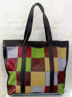 Large multi-coloured handcrafted leather purse Leather Purses, Reusable Tote Bags, Stuff To Buy, Color, Leather Handbags, Colour, Leather Totes, Colors
