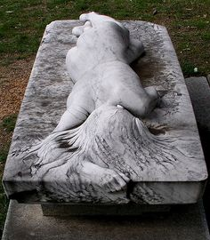 "Laurence Matheson grave--""This beautiful sculpture is called ""Asleep"" and was created by artist Peter Shipperheyn for the grave site of his friend Laurence Matheson. The sculpture was done upon request of Mr. Matheson's widow, as a symbol of her undying love for her late husband."""