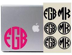Circle Monogram Decal / Laptop Decal / Car Decal / Macbook Decal