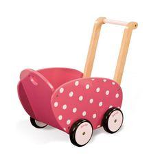buy Janod Framboisine Wooden Doll's Pram - Raspberry with pink polka dot wooden doll's pram. Toddler Toys, Baby Toys, Dolls Prams, Pram Toys, Pram Stroller, Kids Wood, Baby Carriage, Wooden Dolls, Baby Kind