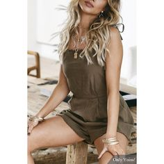 e58860c2a1e3 Yoins Khaki Lace-up Design Backless Playsuit (26 CAD) ❤ liked on Polyvore  featuring jumpsuits