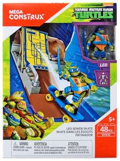 Contains 48 Mega Construx Pieces. Leo Sewer Skate Set Mega Bloks DYK10 Animation