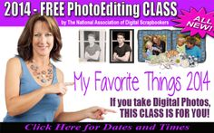 My 2014 FAVORITE things I love about Digital Scrapbooking webinar is now available. If you haven't seen this class yet, you are in for a treat!   Click here now to register. Only offered over the next 4 days http://www.onlinemeetingnow.com/register/?id=a4f847fab2&