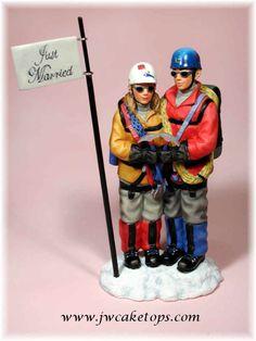 Mountain Climbing Couple Wedding Cake Topper
