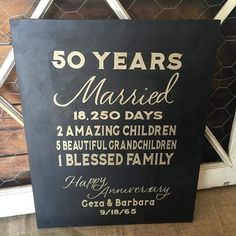 50 year wedding anniversary  Custom sign in gold & black #thebannergirls…