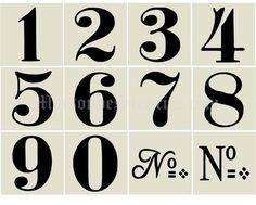 old world number stencils