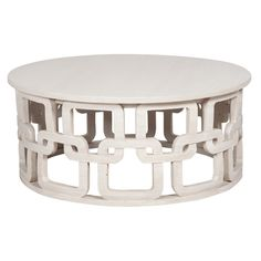 This round Newport cocktail table offers a sleek and sophisticated style perfect for transitional or contemporary homes. Crafted in wood, the table features a hand-carved interconnected ring motif on its base and a Manor White Wash finish. Coffee Table White, Table Design, Elk Lighting, Painted Coffee Tables, French Country Coffee Table, Industrial Coffee Table, Shadow Box Coffee Table, White Cocktail Tables, Elk Home