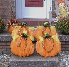 My pumpkin patch deco mesh wreaths.  Just sitting on the porch