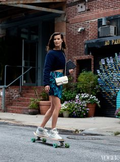 """what-do-i-wear: """" a sweater by Acne, skirt by Porter Grey, Sandro shoes, Chanel bag, Prada iPad case and longboard from Uncle Funkys. Hard Wear, How To Wear, Skate Girl, Hipster, Skater Style, Thats The Way, New Fashion Trends, New York Street, John Galliano"""
