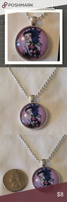 """Betty boop, fairy , cabochon necklace Betty boop,  fairy,  cabochon necklace.  18"""" silver ball chain Jewelry Necklaces"""