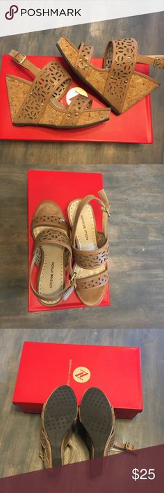 Nude Sandals Adrienne Vittadini NWT tan wedged sandals. Never been worn. Adrienne Vittadini Shoes Wedges