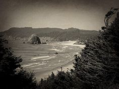 Cannon Beach In Black And White Print By Zoltan Spitzer Haystack Rock can be seen in this view of Cannon Beach, Oregon on the Pacific Northwest coast.