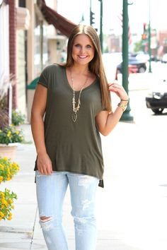 Simple Story Tee - Olive Green