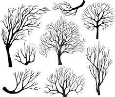 conjunto de siluetas de árboles — Vector stock © wikki33 #4323939