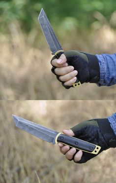 Gold handle Tanto fixed blade trekking survival hunting knife with leather sheath outdoor tactical pocket knife cutter