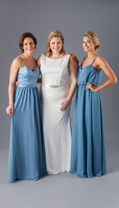Mismatched Kennedy Blue bridesmaid dresses in slate blue.