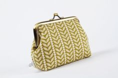 Metal frame purse  Little leaves on olive  Deep dad / by octopurse, €17.60