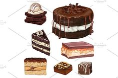 1041381  hand drawn realistic chocolate food illustration cake vector dessert sweet isolated snack plate menu delicious birthday white cream cafe cupcake icon 3d candy holiday tasty pastry brown sketch set restaurant muffin calorie baking cherry icing liquid gourmet decorated drawing design cup colorful graphic drawn cute black waffle collection coffee background drink pie syrup cooking decoration dark party doodle unhealthy treat sugar sprinkles strawberries swirl cook old anniversary…