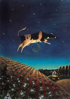 Cow Jumped Over the Moon by Lorena Pugh Cow Nursery, Nursery Rhymes, Cow And Moon, Cow Pictures, Primitive Painting, Moon Images, Jump Over, Cow Art, Dog Paintings