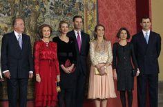 Royal household: Spain's King Juan Carlos (L), Queen Sofia Crown Prince Felipe (R), his wife, Princess Letizia Princess Elena Princess Cristina and her shamed husband Inaki Urdangarin (C) pictured in 2008 Princess Letizia, Queen Letizia, Royal Queen, King Queen, Bridesmaid Dresses, Prom Dresses, Formal Dresses, Wedding Dresses, Spanish Royalty