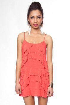 coral layered dress