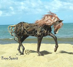 Driftwood horse art - by Jen