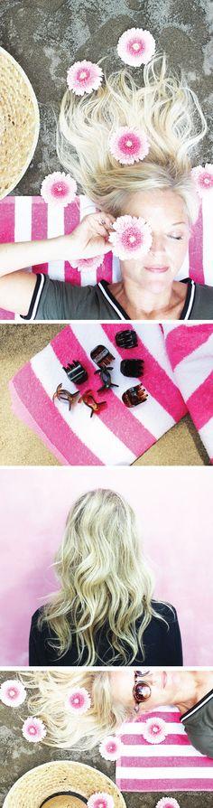 Easy No Heat Hair Do using hair claw clips + hairspray! | Healthy Hair + Skin Beauty Tips for Summer - SPF 101 + @Pantene @Olay #StrongIsBeautiful #Ageless #PoppytalkxPantene #ad