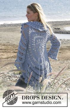 """Moonlight Mist - DROPS circle jacket crochet with 2 strands """"Alpaca"""". Sizes S-XL - Free pattern by DROPS Design"""