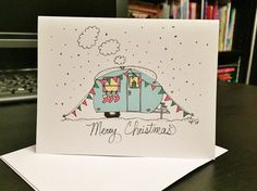 Set of 6  - Cute Holiday Camper / Travel Trailer - Blank note card and envelope  - Merry Christmas