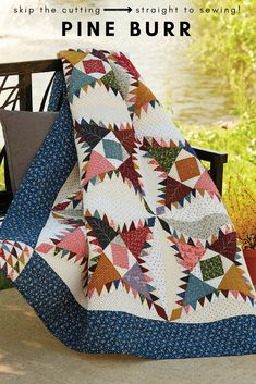 Skip cutting the 1,260 pieces for Pine Burr and go straight to the sewing! This traditional throw-size quilt kit contains shirting prints and reproduction fabrics. It's lovely!