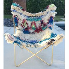 DYING over this chair! THE SOUKIE BUTTERFLY #SoSoukie #ButterflyChair #MidCentury #Palm2Palm #BrassFrame #Boucherouite #Art #OneOfAKind
