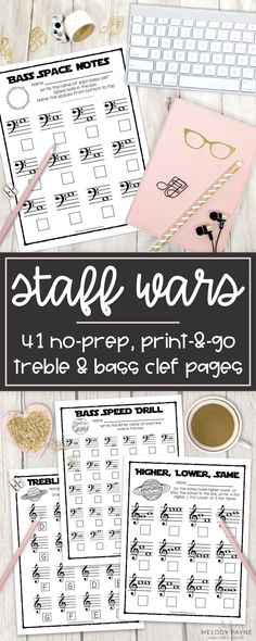 Your music students will LOVE these space-themed printable treble and bass clef worksheets! Review notes on the treble and bass staff in a fun way with Staff Wars worksheets. Great for any age music student who loves Star Wars and outer space. Perfect for piano classes, center work, rotations, workstations, stations, group lessons, music camps, the sub tub, piano lessons, and much more. Treble clef worksheets; bass clef worksheets; musical staff worksheets