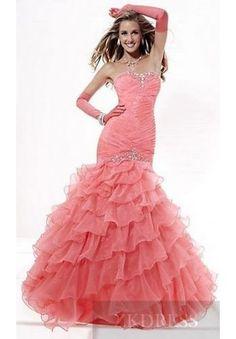 Elegant Organza Strapless Pink Mermaid Long Prom Dresses In Stock zkdress23261