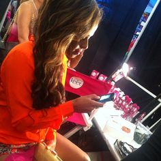 Actress/Singer/Songwriter Christina Milian preparing for the show backstage at MBFW in Miami #VeetSwim
