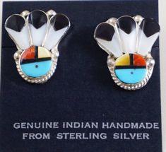 Handmade Native American Zuni Multi-Stone Half-hoop Post Earrings