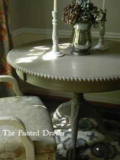 Intricately detailed french table painted in Annie Sloan Coco, sanded, distressed, and waxed in both clear and dark wax. Coco Chalk Paint, Annie Sloan Chalk Paint Furniture, Chalk Paint Colors, Chalk Paint Projects, Chalk Painting, New Furniture, Table Furniture, Furniture Makeover, Refinished Furniture