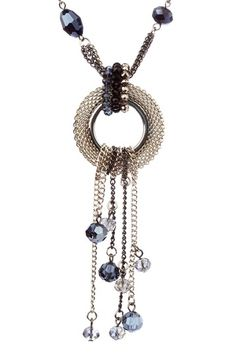 Olivia Welles Chain Link Disc & Glass Beaded Tassel Long Station Necklace  $20.00 (81% off)