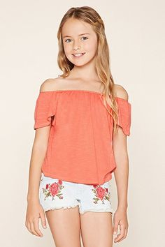 Forever 21 Girls - A slub knit off-the-shoulder top with cap sleeves, an elasticized neckline, and a tulip back. (Off The Shoulder Top Forever Kids Outfits Girls, Cute Girl Outfits, Shirts For Girls, Summer Outfits, Tween Girls, Kids Girls, Preteen Fashion, Kids Fashion, Fashion 2016