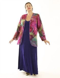"""Gorgeous color in sensuous shapes tumble in a joyous profusion.  Silk georgette """"Carnivale"""" is fully lined with purple chiffon, keeping the jacket lightweight but giving it enough structure to be worn close to the body.  A skimming, semi-fitted jacket.  #"""