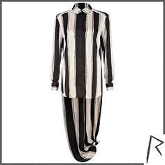 Black and white Rihanna painted stripe shirt $112.00 - River Island
