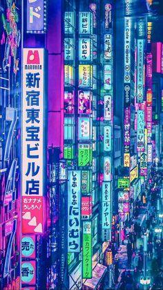 Yoshito Hasaka #japan #tokyo #illustration #neon #city #photography