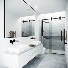 Beautiful master bathroom decor a few ideas. Modern Farmhouse, Rustic Modern, Classic, light and airy master bathroom design a few ideas. Bathroom makeover suggestions and master bathroom remodel tips. Modern Bathroom Design, Bathroom Interior Design, Minimal Bathroom, Modern Luxury Bathroom, Modern Shower, Simple Bathroom, Modern Master Bathroom, Master Shower, Cool Bathroom Ideas