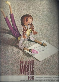 """""""Be a doll and write to us,"""" it says in this vintage retro Armstrong Flooring ad. Lilac, Purple, Pink, Lavender, Vintage Images, Retro Vintage, 1960s House, Armstrong Flooring, Vintage Advertisements"""