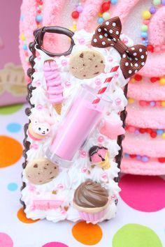 Decoden: strawberry milk and cookies kawaii phone case, decoden phone case, diy phone Kawaii Phone Case, Decoden Phone Case, Diy Phone Case, Cute Phone Cases, Iphone Phone Cases, Kawaii Crafts, Kawaii Diy, Cute Crafts, Diy And Crafts