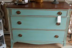 Mustard Seed Antiques Blue dresser with dark top, chalk paint