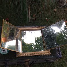 Antique Gilded Tri fold Mirror from the by ScotchStreetVintage