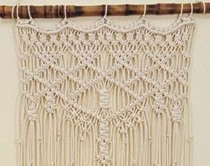 Large Macrame Wall Hanging Window Curtain Wall Art by MonroeArtist